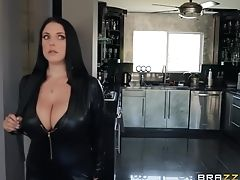 Angela White, Clamp, Couple, Dick, High Heels, Leather, Long Hair, Pornstar, Sex Toys,