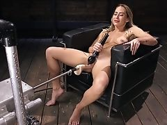 Babe, Brutal, Desk, Fucking Machine, Masturbation, Natural Tits, Piercing, Solo, Vibrator,