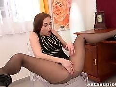 Cute, Golden Shower, Gorgeous, Pantyhose, Pissing, Pussy, Solo,