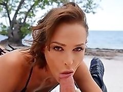 Ass, Beach, Bikini, Blowjob, Cute, Doggystyle, Facial, Handjob, Natural Tits, Outdoor,