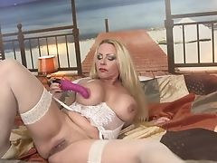 Big Tits, Blonde, Bra, Fake Tits, Fingering, Fishnet, High Heels, Huge Dildo, Lingerie, Long Hair,
