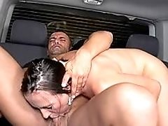 Backseat, Beauty, Blowjob, Brunette, Car, Fake Tits, From Behind, Handjob, HD, Huge Cock,