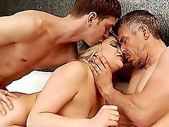 Anal Sex, Ass, Babe, Big Cock, Blonde, Blowjob, Couch, Doggystyle, Double Penetration, Hardcore,