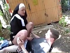 Couple, Cum, Extreme, Forest, Horny, Nature, Nuns, Outdoor, Street, Uniform,
