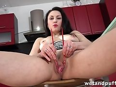 Big Tits, Fetish, Fingering, Food, High Heels, Insertion, Kitchen, Masturbation, Model, Natural Tits,