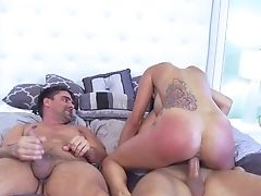 Bedroom, Big Tits, Blindfold, Blowjob, Brunette, Cowgirl, Cumshot, Erotic, Fake Tits, Fingering,