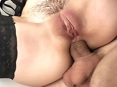 Anal Sex, Ass Fucking, Babe, Boobless, Bra, Couple, Cowgirl, Doggystyle, Fishnet, Hardcore,