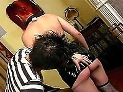 Blowjob, Brunette, Couch, Dick, Fishnet, Piercing, Ponytail, Punk, Redhead, Submissive,