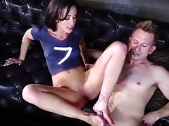 Brunette, Couch, Dick, Doggystyle, Footjob, Hardcore, HD, Jennifer White, Oral Sex, Pain,