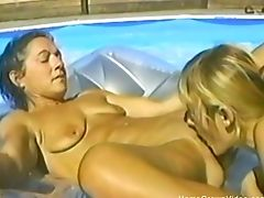 Amateur Lesbians, Felching, FFM, Fucking, Licking, Natural Tits, Outdoor, Pool, Threesome,