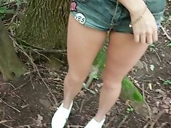 Blonde, Boobless, Facial, Forest, Fucking, Outdoor, POV, Public, Tattoo, Teen,