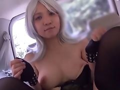 Backseat, Blonde, Car, Ethnic, Japanese, Jerking, Masturbation, Model, Natural Tits, Reality,