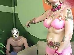 Dame, Zwart, Beha, Candy Monroe, Cuckold, Horny, Slipje, Tattoo,