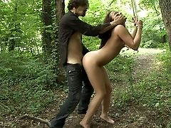 Abuse, BDSM, Bondage, Brunette, European, Forest, From Behind, Hardcore, Humiliation, Innocent,