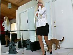 Bedroom, Big Cock, Big Tits, Blonde, Blowjob, Business Woman, Glasses, Holly Halston, Huge Tits, Stylish,