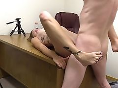 Anal Sex, Ass, Babe, Blowjob, Boobless, Casting, Clamp, Couple, Cute, Desk,