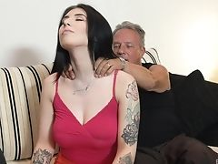 Big Tits, Blowjob, Brunette, Couple, Doggystyle, Hardcore, Long Hair, Massage, Missionary, Natural Tits,