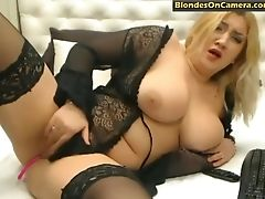 Babe, BBW, Big Tits, Blonde, Lingerie, Pussy, Rubbing, Stockings, Teasing,