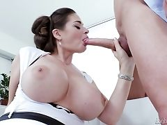 Ball Licking, Big Cock, Big Tits, Blowjob, Cathy Heaven, Clothed Sex, Couple, Cum On Tits, Cumshot, Fake Tits,