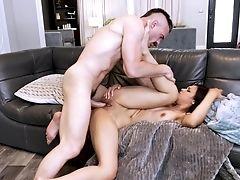 Babe, Brunette, Couch, Fingering, Handjob, Hardcore, HD, Homemade, Latina, Masturbation,