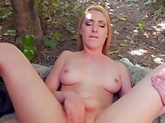 Beauty, Blonde, Blowjob, Cum In Mouth, Facial, Forest, Makeup, Moaning, Money, Nature,