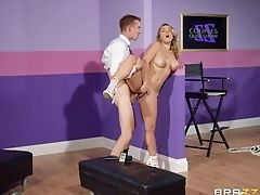 Big Cock, Big Tits, Blonde, Clothed Sex, Couple, Cowgirl, Doggystyle, Fingering, Hardcore, High Heels,