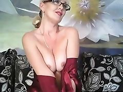 Beauty, Blonde, Glasses, Horny, Lingerie, Masturbation, MILF, Model, Natural Tits, Nylon,