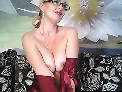 Beauty, Blonde, Glasses, Horny, Lingerie, Masturbation, MILF, Model, Natural Tits, Nylon,